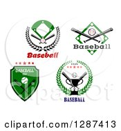 Clipart Of Baseball Bats Fields And Trophies Royalty Free Vector Illustration