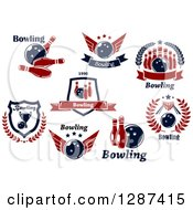 Poster, Art Print Of Red And Navy Blue Bowling Alley Designs 2