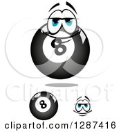 Clipart Of Billiards Eightballs And A Lazy Face Royalty Free Vector Illustration
