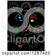 Clipart Of Colorful Illuminated Speedometers On Black 3 Royalty Free Vector Illustration by Vector Tradition SM