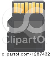 Clipart Of A Black And Gold Memory Card Royalty Free Vector Illustration