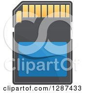 Clipart Of A Blue Black And Gold Memory Card Royalty Free Vector Illustration