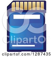 Clipart Of A Blue And Gold Memory Card Royalty Free Vector Illustration