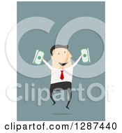 Clipart Of A Flat Modern Design Styled White Businessman Jumping With Cash Money Over Blue Royalty Free Vector Illustration