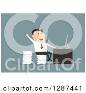 Clipart Of A Flat Modern Design Styled White Businessman Cheering And Sitting On A Stack Of Paperwork At A Desk Over Blue Royalty Free Vector Illustration