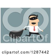 Clipart Of A Flat Modern Design Styled White Businessman Robber Running With A Sack Over Blue Royalty Free Vector Illustration
