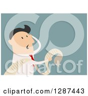 Clipart Of A Flat Modern Design Styled Stressed White Businessman Reading A Long List Or Document Over Blue Royalty Free Vector Illustration by Vector Tradition SM