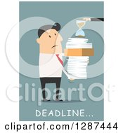 Clipart Of A Flat Modern Design Styled White Businessman Receiving A Stack Of Paperwork And An Hourglass Over Blue Royalty Free Vector Illustration
