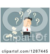 Clipart Of A Flat Modern Design Styled White Businessman Thinking Of Tossing Documents Into A Trash Bin Over Blue Royalty Free Vector Illustration