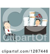 Clipart Of A Flat Modern Design Styled White Businessman Talking To A Confused Employee Bombarded With Paperwork Over Blue Royalty Free Vector Illustration