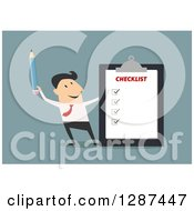 Clipart Of A Flat Modern Design Styled White Businessman Holding A Pencil By A Completed Checklist Over Blue Royalty Free Vector Illustration
