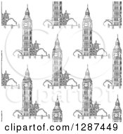 Clipart Of A Seamless Background Pattern Of Black And White Sketched Big Ben Towers Royalty Free Vector Illustration by Vector Tradition SM