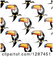Clipart Of A Seamless Background Pattern Of Perched Toucan Birds Royalty Free Vector Illustration by Seamartini Graphics