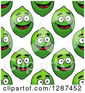 Clipart Of A Seamless Background Pattern Of Happy Green Limes On White Royalty Free Vector Illustration