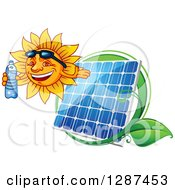Clipart Of A Happy Sun Holding A Water Bottle And Facing Left Over A Solar Panel And Leaves Royalty Free Vector Illustration