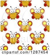 Seamless Background Pattern Of Happy Cartoon Butterflies