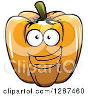 Clipart Of A Happy Orange Bell Pepper Character Royalty Free Vector Illustration