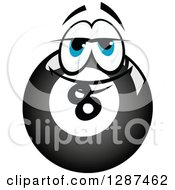 Clipart Of A Blue Eyed Billiards Eightball Character Royalty Free Vector Illustration