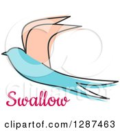 Clipart Of A Pastel Sketched Salmon Pink And Turquoise Swallow Flying Over Pink Text Royalty Free Vector Illustration