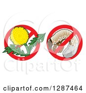 Clipart Of Lawn Care Designs Of A Dandelion Weed Flower And A Grub In Prohibited Symbols Royalty Free Vector Illustration