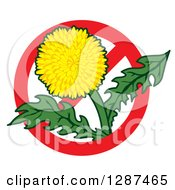 Clipart Of A Lawn Care Design Of A Dandelion Weed Flower In A Prohibited Symbol Royalty Free Vector Illustration