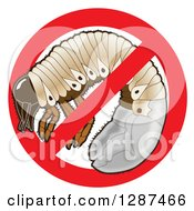 Clipart Of A Lawn Care Design Of A Grub In A Prohibited Symbol Royalty Free Vector Illustration by Toons4Biz