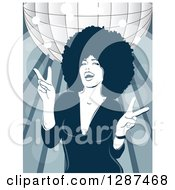 Clipart Of A Fashionable Black Woman With An Afro Dancing Under A Disco Ball Royalty Free Vector Illustration