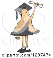 Clipart Of A Hairy Caveman Graduate Holding Up A Certificate Royalty Free Vector Illustration by Dennis Cox