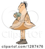 Clipart Of A Hairy Caveman Holding Cash Money Royalty Free Illustration