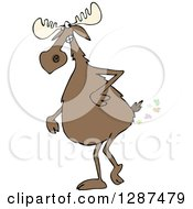 Clipart Of A Moose Walking Upright And Farting Royalty Free Vector Illustration by djart