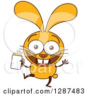 Clipart Of A Cartoon Yellow Rabbit Dancing And Holding A Beer Royalty Free Vector Illustration