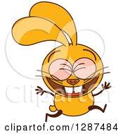 Cartoon Yellow Rabbit Celebrating And Jumping