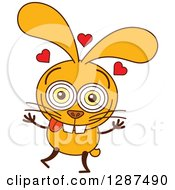 Cartoon Yellow Rabbit In Love