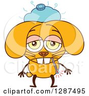 Clipart Of A Cartoon Sick Yellow Rabbit With An Ice Pack And Thermometer Royalty Free Vector Illustration
