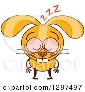 Cartoon Sleeping Yellow Rabbit