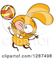 Cartoon Yellow Rabbit Playing Volleyball