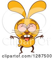 Clipart Of A Cartoon Yellow Rabbit Puking Royalty Free Vector Illustration