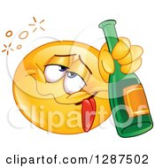 Clipart Of A Drunk Yellow Emoticon Smiley Face Holding A Bottle Of Champagne Royalty Free Vector Illustration