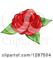 Clipart Of A Glossy Red Rose With Green Leaves Royalty Free Vector Illustration