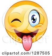 Clipart Of A Yellow Emoticon Smiley Face Winking And Sticking His Tongue Out Royalty Free Vector Illustration