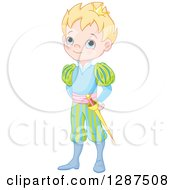 Clipart Of A Cute Blue Eyed Blond Caucasian Prince In A Colorful Uniform Royalty Free Vector Illustration