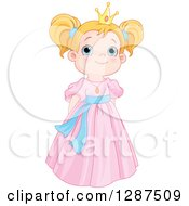 Cute Blue Eyed Strawberry Blond Caucasian Princess In A Pink Dress