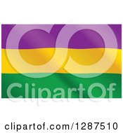 Clipart Of A Wavy Mardi Gras Flag Royalty Free Vector Illustration by Pushkin