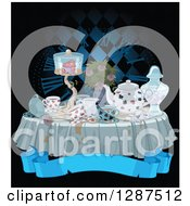 Dark Messy Tea Party Table With A Clock And Blank Banner On Black