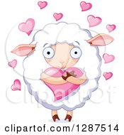 Cute Fluffy White Sheep Hugging A Heart With Pink Hearts