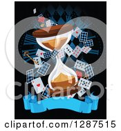 Alice In Wonderland Themed Hourglass With Playing Cards Roses Keys And Blank Banner Over A Clock On Black