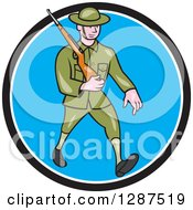 Clipart Of A Cartoon World War I British Soldier Marching With A Rifle In A Black White And Blue Circle Royalty Free Vector Illustration