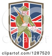 Clipart Of A Cartoon World War I British Soldier Marching With A Rifle In A Union Jack Shield Royalty Free Vector Illustration