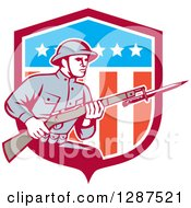 Clipart Of A Retro World War One American Soldier With A Bayonet And Rifle In An American Shield Royalty Free Vector Illustration