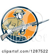 Clipart Of A Retro World War One American Soldier With A Bayonet And Rifle In A Navy Blue White And Orange Circle Royalty Free Vector Illustration